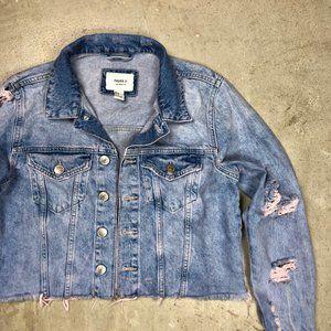 Distressed Raw Hem Semi Crop Light Denim Jacket